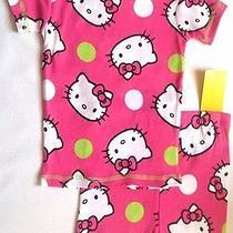 New Hello Kitty Pajamas Set Girls 4 Dots Cotton Pjs Cat Top Tee Shirt Shorts Nwt Photo