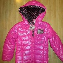 New Hello Kitty Puffer Jacket Coat Top Girls 12 Hot Pink Black 75 Rv Photo