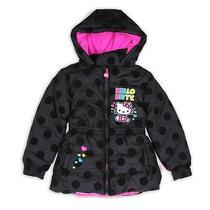 New Hello Kitty Puffer Jacket Coat Top Girls 6x Black Dots Pink 75 Rv Photo