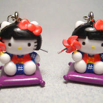 New Hello Kitty Purple Princess 3-D Charm Earrings Anime Cat Japan Cute Kawaii Photo