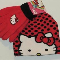 New Hello Kitty Red & Black Polka Dot Knitted Beanie Hat & Gloves Sz One Size Photo