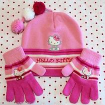 New Hello Kitty Sanrio Pink Girls Winter Hat Gloves Set 3pc Knit Beanie Stripes Photo