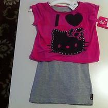 New Hello Kitty Shirt 2 Piece Set Size M (7/8) Pink / Grey  Photo