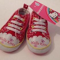 New Hello Kitty Soft Sole Baby Girls Crib Shoes 0-6 Months New W/ Tags Photo