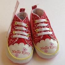 New Hello Kitty Soft Sole Baby Girls Crib Shoes 6-12 Months New W/ Tags Photo