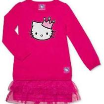 New Hello Kitty Sparkle Crown Girls Dress Ruffle Tutu Sweater Dress Pink 2t  Photo