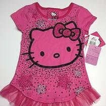 New Hello Kitty Toddler Girl Pink Short Sleeve Kitty Shirt Size 2t  Mc-432-11 Photo