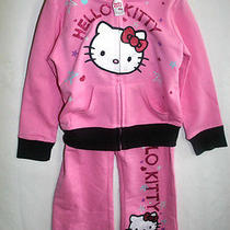 New Hello Kitty Toddler Girls 2pc Outfit Tracksuit Pants Set  2t Light Pink Photo