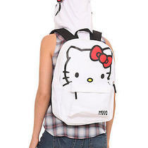 New Hello Kitty White Face Bow Backpack School Bag With Hood  Photo