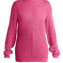 New Helmut Lang Long Sleeve Pink Sheer Frayed Trim Sweater Size Large Nwt 360  Photo