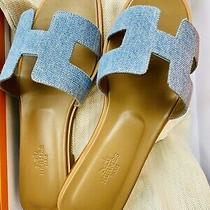 New Hermes Blue Jeans Oran Oasis Sandal Slipper 37 Us 7 Shoes Flats Bleu Clair Photo