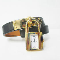 New Hermes Kelly Black Leather Gold Charm Hardware 15 Inch Length Watch  Photo