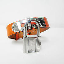 New Hermes Kelly Orange Leather Silver Charm Hardware 8 Inch Length Watch  Photo