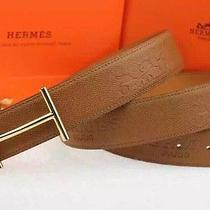New Hermes Leather Gold-Plate H Buckle Men's Belt  Photo