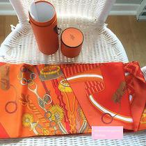 New Hermes Maxi Twilly Shawl Scarf Silk Wrap Orange Photo