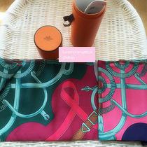 New Hermes Maxi Twilly Shawl Scarf Silk Wrap Rose Pink Purple Green Photo