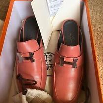 New Hermes Paradis Goatskin Womens Mule 36.5 Flats Loafers Shoes Blush Photo