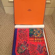 New Hermes Red Scarf With Gift Box and Ribbon Photo
