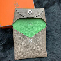 New Hermes Verso Bastia Epsom Grey Etain Green Vert Criquet Change Purse Wallet Photo