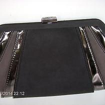 New High End Zac Posen Metallic Black Leather Clutch/ Shoulder Authentic Purse Photo