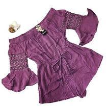 New Hint of Blush Women's L Lilac Long Sleeve Romper Dress Boho Casual Beach Photo