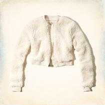 New Hollister by Abercrombie Womens Point Loma Sherpa Bomber Jacket- L Photo