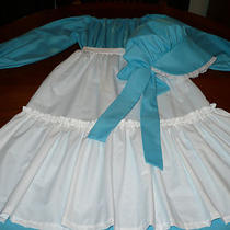 New Homemade Girls Size 8-10 Pioneer/colonial/prairie/dress Costume Aquawhite Photo