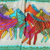 New Honeydew Silk Oblong Scarf Painting Gallop Horses Photo