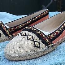 New House of Harlow 1960 Kat Espadrille Salmon Coral Pink Suede W Canvas Flats  Photo