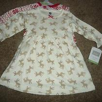 New Hudson Baby Girls 6-9 Months 2 Cotton Christmas Dresses Reindeer/snowflakes Photo