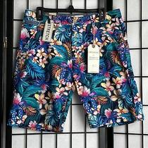 New Hudson & Barrow Men's Shorts Flat Front Hibiscus Tropical Forest Size 33 Nwt Photo