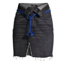 New Hudson Women 28 Sloane Denim Skirt Raw Distressed Fold Down Waist Black Photo