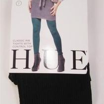 New Hue Classic Rib Tights With Control Top Black Size 2 Photo