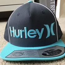 New Hurley 110 Only Corp Cap Hat Grey Aqua Blue Flexfit Nwt Tags Photo