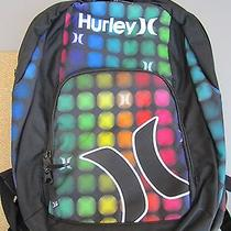 New Hurley Backpack Student Pack Book Bag Black Rainbow Dots Photo