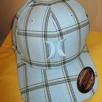 New Hurley Ball Cap Hat Mens Puerto Rico Plaid L/xl Flexfit Lt Blue 25 Retail Photo