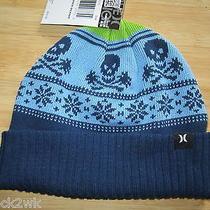 New Hurley Beanie Cap Hat Mens Osfa S M L Donner Skulls Blue Photo
