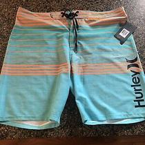 New Hurley Phantom Peters Board Shorts Swim Trunks Aqua Blue Orange  Sz 38 Photo