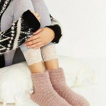 New in Box 29.99 Urban Outfitters Mauve Pink Crochet Slipper Socks Small 5/6 Photo