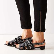 New in Box 7.5 Jeffrey Campbell Shoreham Black Leather Strappy Sandals Sexy Hot Photo