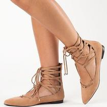New in Box 8.5 Jeffrey Campbell Atrium Tan Suede Lace Up Flat Nasty Gal Sexy Hot Photo
