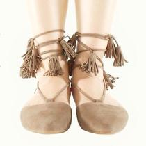 New in Box 8.5 Jeffrey Campbell Nude Suede Lace Up Tassel Sandal Nasty Gal Sexy Photo