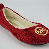 New in Box 89 Michael Kors Jet Set Mk Women's Red Wool Ballet Flats Us6 Photo