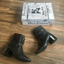 New in Box Jeffrey Campbell Black Embossed Buckle Bootie Size 9 Photo