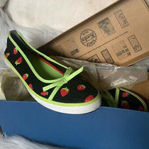 New in Box Keds Black & Green Strawberry Flats Size 6 Eur 36 Rockabilly Nib Photo