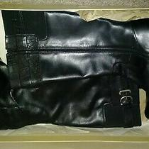 New in Box Naturalizers Leather Blk Riding Boots Size 8w Plus W Shaft Zipper Photo