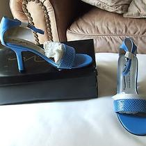 New in Box Newport News Persian Blue Croc Ankle Wrap Strap Heel  Size 5.5 M Photo