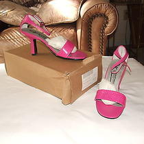 New in Box Newport News  Very Berry Croc Ankle Wrap Strap Heel  Size 5.5 M Photo