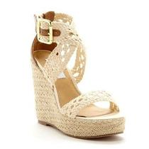 New in Box Steve Madden River Jute Wedge Natural Sandal Size 9.5 Photo