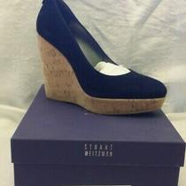 New in Box Stuart Weitzman Corkswoon Nice Blue Suede Wedges Heels Size 10 Photo